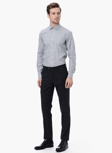 NetWork Desenli Slim Fit Uzun Kollu Gömlek Gri